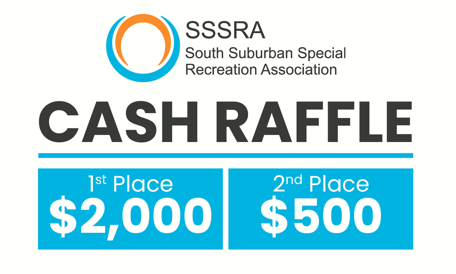 Cash Raffle Advertisement. 1st Place is $2,000. 2nd Place is $500.