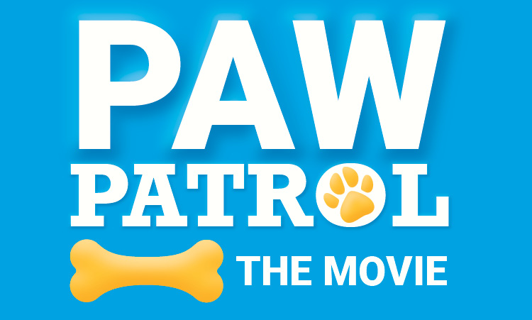 """Blue background with white text that says, """"Paw Patrol The Movie."""" An illustration of a yellow paw print is in the O in the word patrol. An illustration of a yellow dog bone is near the bottom of the text."""